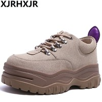 XJRHXJR New Black Women's Platform Chunky Sneakers 2018 Fashion Lace Up Women Flat Thick Sole Shoes Woman Dad Footwear