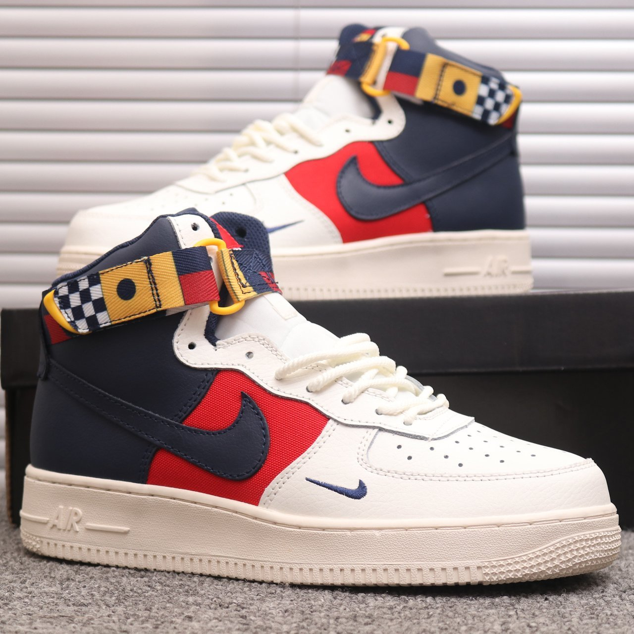 Image of Nike Air Force One matching color high-top sneakers for men and women