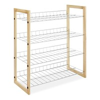 4-Shelf Closet Shoe Rack with Natural Wood Frame & Chrome Wire Shelves