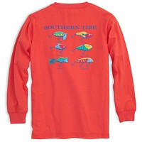 Kids Classic Lures Long Sleeve Tee Shirt in Hot Coral by Southern Tide
