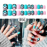 24 Pcs/Set 3D Fake Nails With Glue Middle-Long Full Wrapped Tips Bride Artificial False Nail For Nail Art Tool  FM88