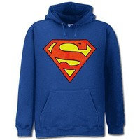 Superman Hoodie Classic Logo Adult Royal Blue Hoody Sweatshirt