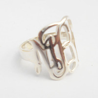 """Silver Monogram Ring,Silver Initial Ring,Personalized Monogram Initial Ring , 0.6""""  Monogram Nameplate Ring,Monogrammed Gifts"""