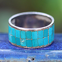 Turquoise Mosaic Wide Band Ring Stacking Mexico Sterling Silver