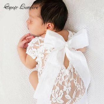 White Lace Newborn Baby Girl Summer Romper + Ribbon