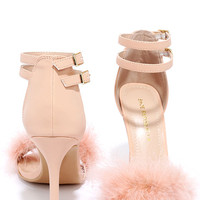 Mystery of Sorts Pink Feather Ankle Strap Heels