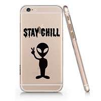 """""""Chill Out"""" Alien Clear Transparent Plastic Phone Case Phone Cover for Iphone 6 6s_ SUPERTRAMPshop (VAS779.6sl)"""