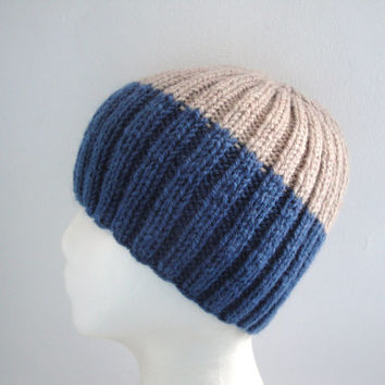 Color Block Beanie, Men/Teen Boys, Hand Knit, Navy Blue & Tan