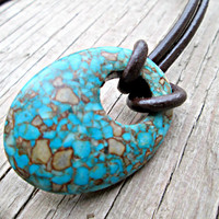 Oval Stone Necklace, Blue Mosaic Stone Necklace, Turquoise Necklace, Hippie Gypsy Necklace, Tribal Jewelry, Speckled Necklace
