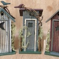 Outhouse 3pc Set Country Rustic Primitive