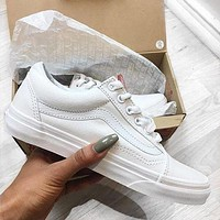 Vans Old Skool Classics All White Sneakers Sport Shoes