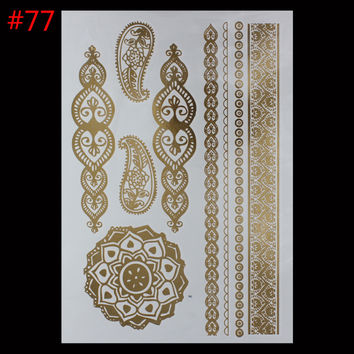 New Metalic Leaf Tatoos Gold Metallic Temporary Flash Tattoos Sex Products jewelry etal Bling Henna Tatouage Body Paint Stickers