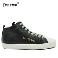 CANGMA Original Male Genuine Leather Sneakers Men Durable Black Shoes Mid Lace Up Designer Man's Vintage Adult Casual Shoes