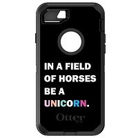 DistinctInk™ OtterBox Defender Series Case for Apple iPhone / Samsung Galaxy / Google Pixel - In a Field of Horses, Be a Unicorn - Rainbow