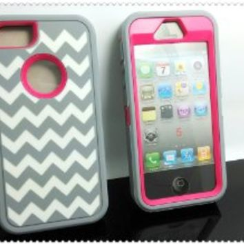 Allmet Hybrid Armor  Rubber Silicone Cover Case For iPhone 5, 5S - Gary/Light Blue with White Wave