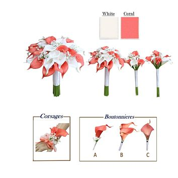White and Coral Calla Lilies with Baby Breath - Build Your Package