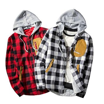 Men's CPlaid Contrast Hooded Jackets