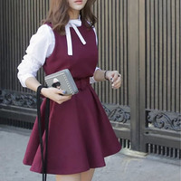 Bow Woolen Patchwork Pleated Mini Dress with Belt
