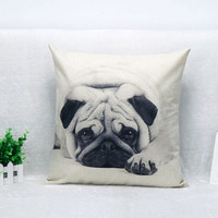 Cute Pug Pet Dog black and white Print Custom Home Decorative Throw Pillow almofadas decorate pillow sofa chair cushion