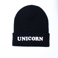 SEMI ANNUAL SALE- Black Beanie with words, Black Unicorn beanie, grunge, slouch beanie, beanie with letters, Black Unicorn Beanie