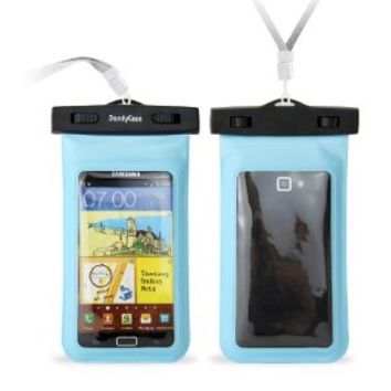 """DandyCase Blue Waterproof Case for Apple iPhone 5, Galaxy S4, HTC One, iPod Touch 5 - Also fits other Large Smartphones up to 5.3"""" Including Galaxy S3, HTC One X/X+, Droid RAZR/MAXX, Nexus 4, EVO 4G LTE, Droid Incredible, LG Optimus G, Nokia Lumia, Droid D"""