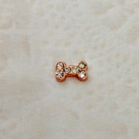 Floating charms for living locket Rose gold dog bone with crystals