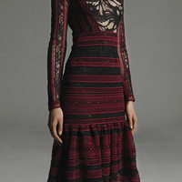 Striped Lace Long Sleeve Dress | Moda Operandi
