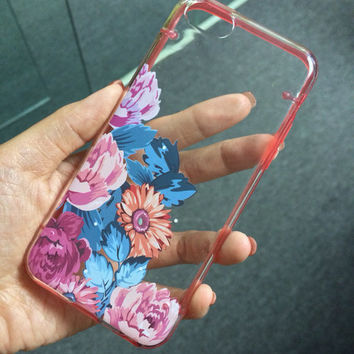 iPhone 5C 5S 5 case, iPhone 6 6 plus transparent case, vintage flower rose, floral clear bumper hard cover case (E17), FREE screen protector