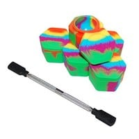 """5 Rainbow Honeycomb Nonstick Platinum Cured Kitchen Storage Silicone Jar Container with 4"""" Carving Tool Black Removable Tips"""