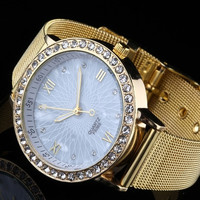 Classy Women Ladies Crystal Roman Numerals Golden Plated Mesh Band Wrist Watch (Size: 2) = 1706404740