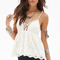 FOREVER 21 Crocheted Babydoll Cami Cream