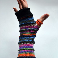 Merino Wool Fingerless gloves - Wool Arm warmers - Fingerless gloves - Fashion Gloves - Rainbow Fingerless Gloves nO 63.