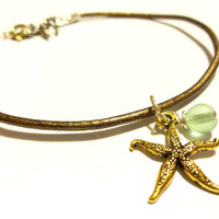 Starfish Anklet,  Metallic Brown Leather Adjustable Anklet, Sea Foam Green Frosted Glass Ankle Bracelet, Beach Jewelry