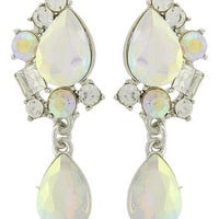 "Beautiful Iridescent Ab Teardrop Dangle Earrings with Square and Round Stones 1"" Dangle on Silver Tone"