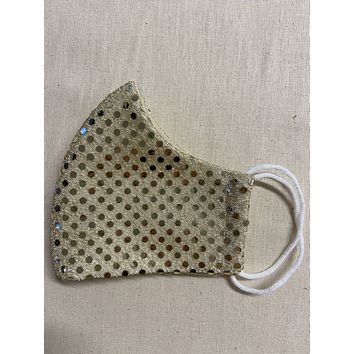 Gold Sparkly Full Face Cup Shaped Mask | Cloth Mask | Masks with Elastic
