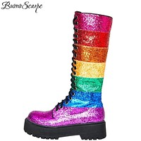 Buono Scarpe Bling Bling Women Mid Calf Boots Women Rainbow Sequined Botas Fenimina Cross Tied Platform Ladies Shoes 2019 New