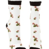 Black Combo Floral-Embroidered Sheer Mesh Socks by Charlotte Russe