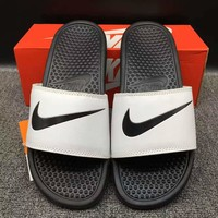 Nike White Men Women Slippers flip flops Sandals Beach Shoes Outdoor Shoes Size 36-45