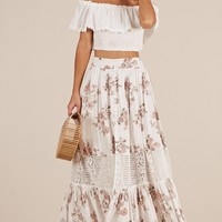 FIeld Of Flowers Skirt in white floral Produced By SHOWPO