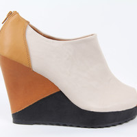 Stone Multi Color Faux Leather Wedge