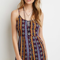 Ornate Striped Cami Romper