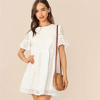 Boho White Flounce Short Sleeve Solid Schiffy Straight Lace Dress Women Elegant O-Neck Tunic Shift Cute Dresses