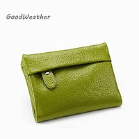 Designer slim wallet women high quality soft green genuine leather coin purse ladies change wallets short card holder 7colors