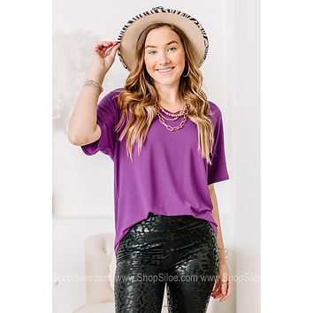 V Neck Basic Top | Purple