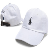 White Polo Embroidered Unisex Adjustable Cotton Sports Cap Hat