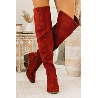 Time Stands Still Thigh High Boots (Adobe Red)