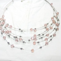 Multi Strand Illusion Necklace, Pink Crystals and Silver Beads, Floating Necklace