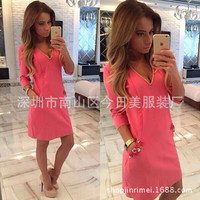 Fashion 2016 Trending Fashion Women Package Hip Quarter Sleeve Solid One Piece Dress  _ 10208