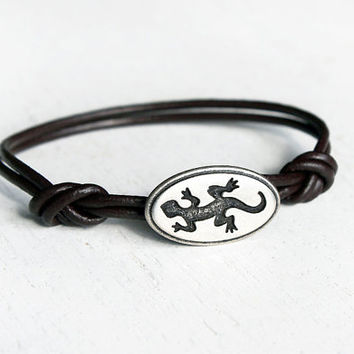Gecko Leather Bracelet / Lizard Bracelet / Reptile Bracelet (many colors to choose)