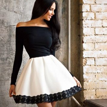 EMBROIDERY LONG-SLEEVED DRESS